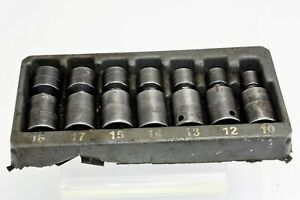 Snap on 7 Piece 3 8 Drive 6 pt Metric Flank Dr Shallow Swivel Impact Socket Set