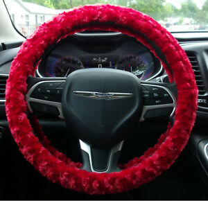New Red Fuzzy Soft Swirls Steering Wheel Cover