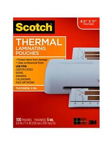 Scotch Thermal Laminating Pouches 100 Count 8 5 X 11 5 Mil