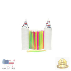 200 Snow Cone Cups 6 Oz And 200 Spoon Straws Assorted Sizes