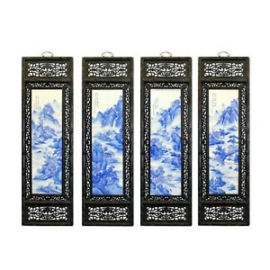 Chinese Mountain River Porcelain Blue White Painting Wall Panel Set Cs5057