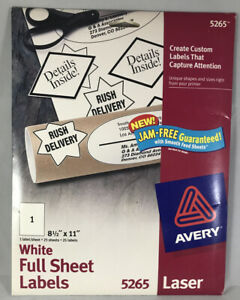 Avery 5265 Laser White Full Sheet Labels 25 Sheets 25 Labels 8 5 x11 New Sealed