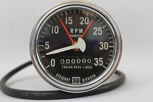 55 59 Stewart Warner Model 760 V 6v 3500 Rpm Electric Truck Tachometer Vintage