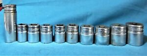 Lot Of 10 Snap on 1 2 Drive Sockets Used Free Shipping