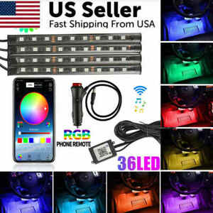 4x9 36 Led Rgb Universal Car Atmosphere Light Strips Bluetooth Phone App Control