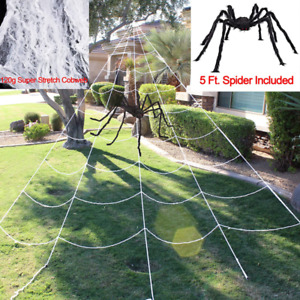 Halloween Giant Spider Web Set Includes 5 ft Spider 23 x 18 ft Large Web and 12