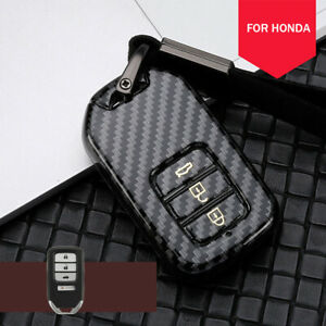 Carbon Fiber Car Key Fob Case Cover Bag For Honda Accord Civic Crv Hrv Pilot Crz