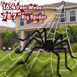 LVLJCLC Halloween Giant Spider Web 200quot; Giant Spider 78.7quot; for Halloween Outdo
