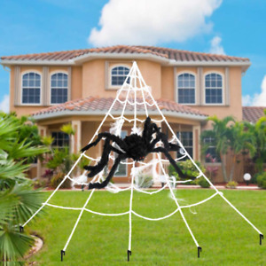 AODINI Giant Spider Web with1 Spider Scary Halloween Decorations Fake Spider We