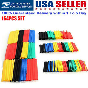 164pcs Set Polyolefin Shrinking Assorted Heat Shrink Tube Wire Cable Insulated