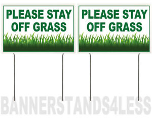 8x12 Inch Please Stay Off Grass Yard Sign With Stake Wb 2 Pack