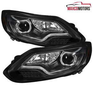 Black Fits 2012 2014 Ford Focus Projector Headlights W Led Drl Strip Lamps