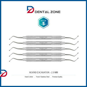 set Of 5 Excavator Round 2 0mm Double Ended Dental Hand Instruments ce