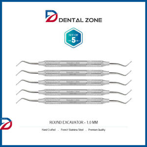 set Of 5 Excavator Round 1 0mm Double Ended Dental Hand Instruments ce