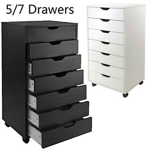 5 7 Drawer Rolling File Cabinet Wood Office Holder Document Storage Organizer