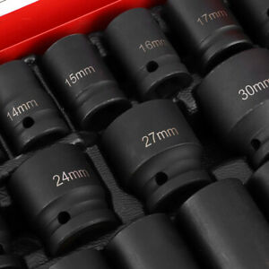 35pcs 1 2 In Deep Impact Socket Set Drive 8 32mm Garage With Case