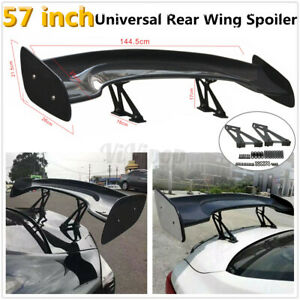 4 74ft Universal Car Racing Real Carbon Fiber Rear Trunk Spoiler Wing Adjustable
