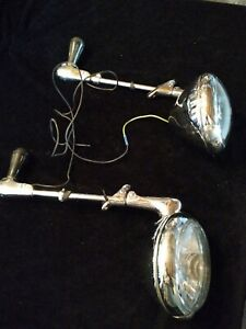 Vintage Pair Of Unity Mfg Chicago S6 Chrome Police Cruiser Hunter Spotlights