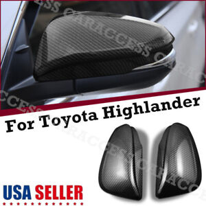 2x Carbon Fiber Rear View Side Mirror Cover Trim For Toyota Highlander 2014 2019