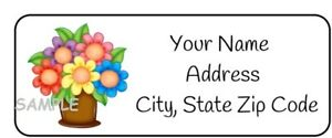 30 Personalized Flower Return Address Labels floral stickers tags pretty flowers