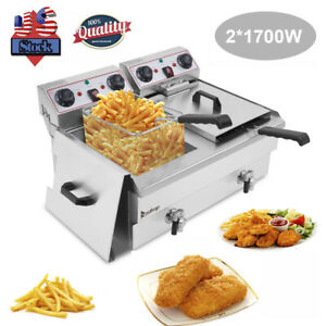 Zokop Stainless Steel Deep Fryer 24 9qt 23 6l Capacity Faucet Double Tank 3400w