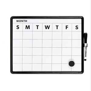 Contempo Magnetic Monthly Calendar Dry Erase Board 11 X 14 White Frame