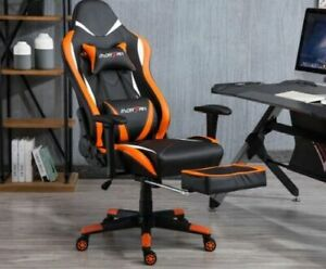 Game Chair Office Pu Leather Chair Massage Chair Adjustable 360 Black Orange