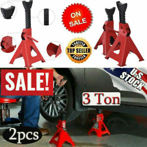 Car Jack Stands 3ton Vehicle Support 17in High Lift Garage Auto Tool Set 2 Packs