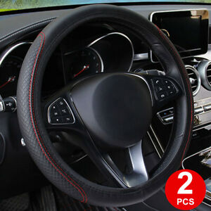 2pcs 14 Inch 38cm Pu Leather Universal Black Red Car Truck Steering Wheel Cover