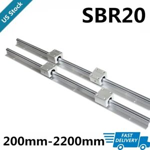 2x Sbr20 L200 2200mm Linear Silde Rail Guide Shaft 4x Sbr20uu Bearing Block Set