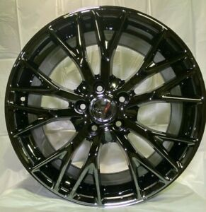 19 20 Black Chrome Wheels Z06 Style Fits 2014 C7 Chevy Corvette Stingray Base