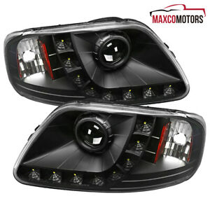 For Black 1997 2003 Ford F150 Expedition Smd Led Drl Projector Headlights Lamps