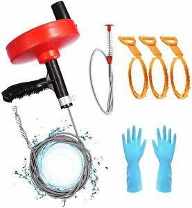 17 ft Plumbing Drain Snake Auger Hair Clog Remover Sink Snake With Gloves