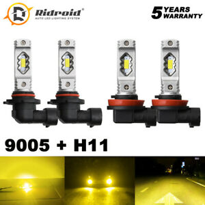 3000k Yellow Led Bulbs Combo Kit 9005 H11 Headlight Coversion Hi Lo Beam 2pair