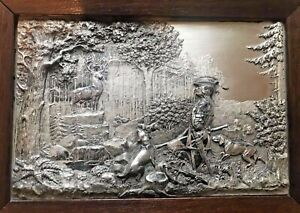 Vintage Silver Hunting Wall Plaque Stag 3d High Relief Germany