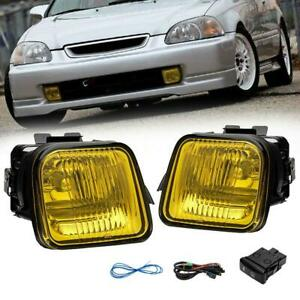 For 96 98 Honda Civic Yellow Lens Fog Lights Lamps Style Pair