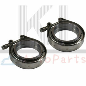 2 X 2 5 Stainless Steel V Band Flange Clamp Kit For Turbo Exhaust Downpipes