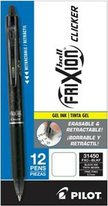 Pilot Frixion Clicker Erasable Gel Pens Pack Of 12 Black 0 7 Mm