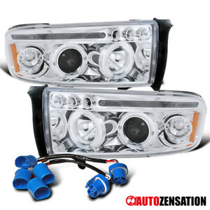 For 1994 2001 Dodge Ram 1500 2500 3500 Sport Clear Led Halo Projector Headlights