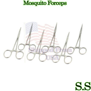 10 Mosquito Hemostat Locking Forceps 6 5 Curved 5 Straight Stainless Steel