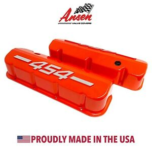 Big Block Chevy 454 Tall Valve Covers Orange With Raised Logo Ansen Usa