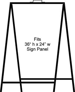 A frame Portable Folding Curb Sign Stand 36 X 24 Slide In Black pack Of 1