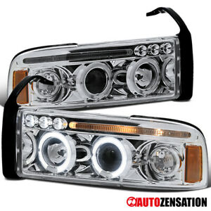 For 1994 2001 1500 Dodge Ram Clear Led Dual Halo Rims Projector Headlights Lamps