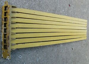 Antique Wooden Wall Mount 8 Spindle Drying Rack In Old Chrome Yellow Paint