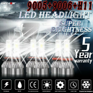 Combo 9005 9006 H11 Led Headlight Hi Low Beam Bulb 6500k 7000w 980000lm Fog Ligh