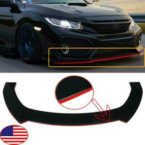 Front Bumper Lip Spoiler For Civic Hatchback Si 2000 2020 With Red Line Style