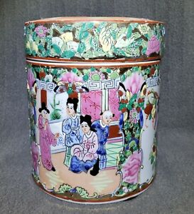 19th C Chinese Famille Rose Medallion Canton Tea Caddy Box Lid Porcelain 6