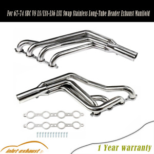 For 67 74 Sbc V8 Ls Ls1 Ls6 Lsx Swap Stainless Long Tube Header Exhaust Manifold