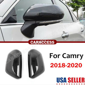 2x For Toyota Camry 2018 2020 Carbon Fiber Side Rearview Mirror Cover Trim Cap