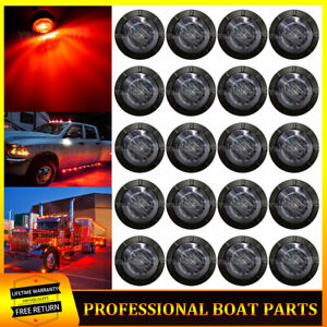 20x Smoked 3 4 Red Led Marker Lights Truck Trailer Side Clearance Bullet Light